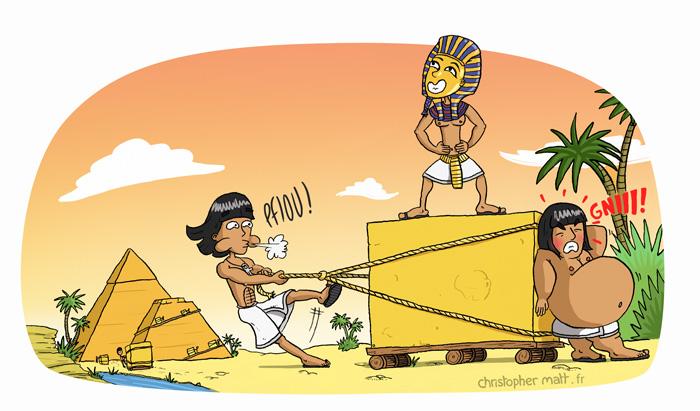 Egyptiens-poussant-une-pierre